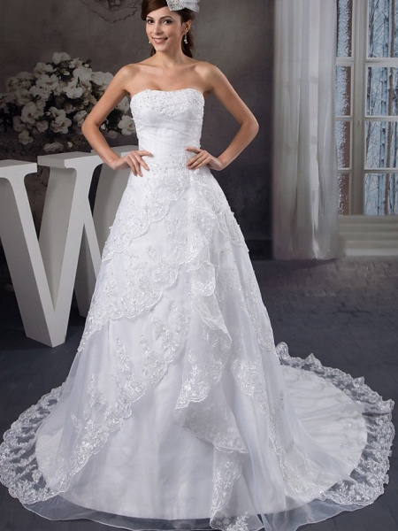 A-Line Strapless Chapel Train Lace Organza Satin Strapless Wedding Dresses_1