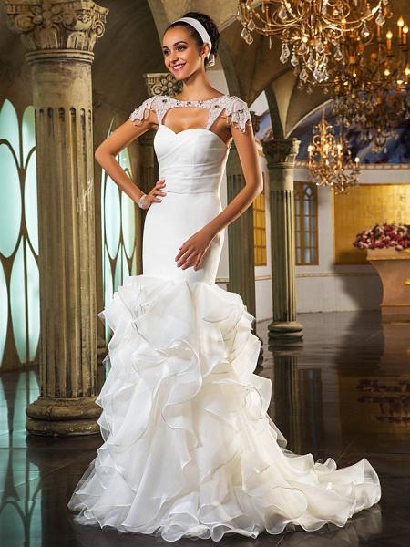 Mermaid \ Trumpet Wedding Dresses Sweetheart Neckline Sweep \ Brush Train Organza Tulle Cap Sleeve Formal Separate Bodies_3