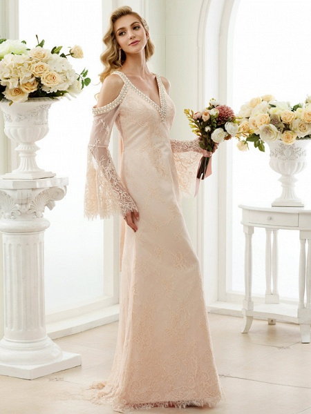 Sheath \ Column Wedding Dresses Plunging Neck Sweep \ Brush Train Sheer Lace Long Sleeve Wedding Dress in Color Open Back Floral Lace_3