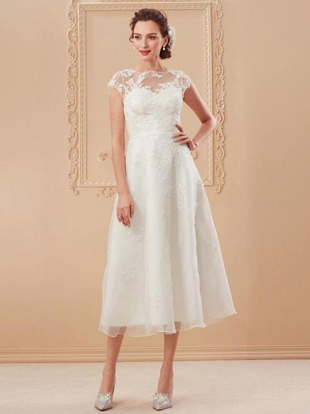 A-Line Wedding Dresses Bateau Neck Tea Length Organza Cap Sleeve Simple Casual Illusion Detail_14