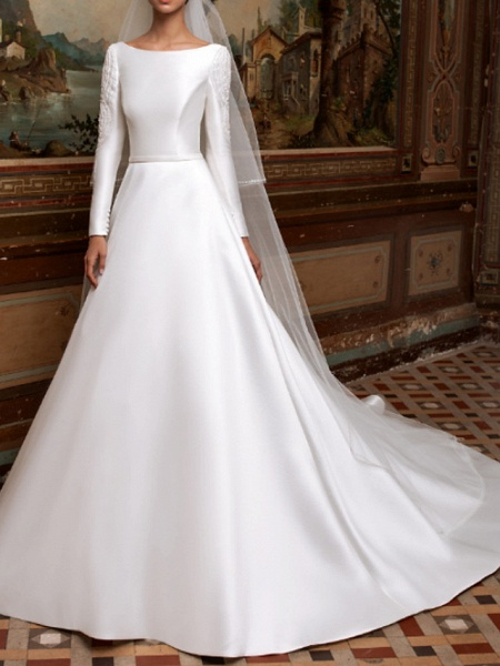 A-Line Wedding Dresses Bateau Neck Sweep \ Brush Train Lace Charmeuse Long Sleeve Formal Simple Plus Size Elegant_1