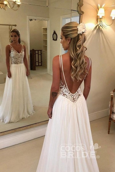 Charming V-Neck Sleeveless Appliques A-Line Floor-Length Prom Dresses_2