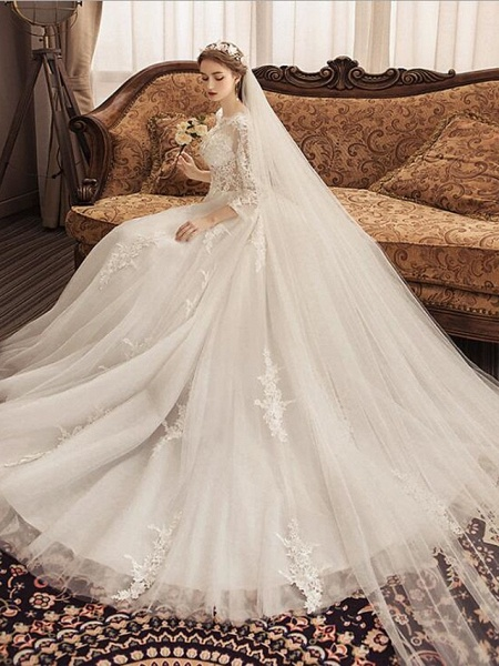 Ball Gown Jewel Neck Watteau Train Lace Tulle Polyester Short Sleeve Romantic Wedding Dresses_2