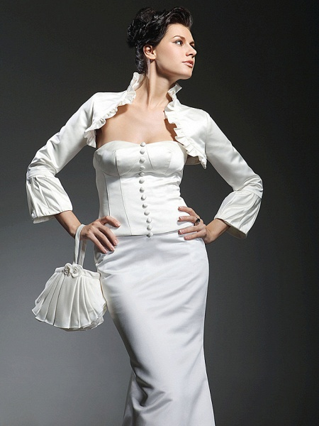 Mermaid \ Trumpet Wedding Dresses Strapless Sweetheart Neckline Floor Length Satin Long Sleeve_3