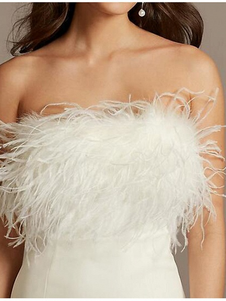 Sheath \ Column Wedding Dresses Strapless Short \ Mini Satin Feather Sleeveless Country Plus Size_2