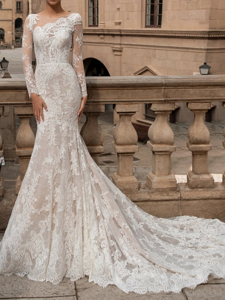 Mermaid \ Trumpet Bateau Neck Sweep \ Brush Train Lace Long Sleeve Romantic Boho Sexy Backless Illusion Sleeve Wedding Dresses_1