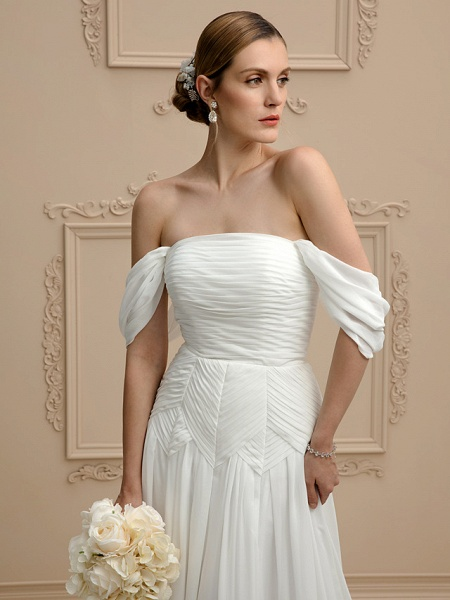 Princess A-Line Wedding Dresses Strapless Cathedral Train Chiffon Sleeveless Open Back_4