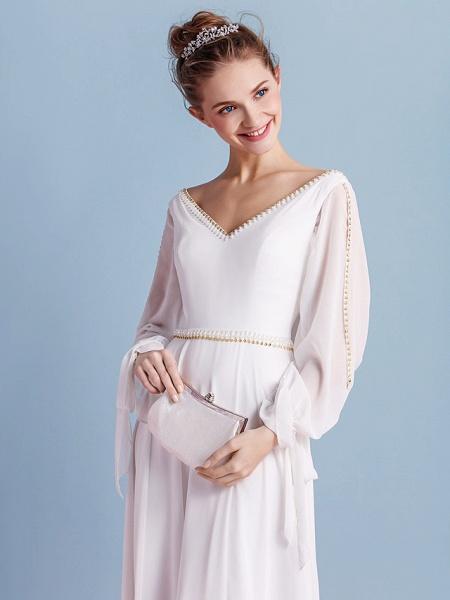 Sheath \ Column Wedding Dresses V Neck Court Train Chiffon Long Sleeve_7