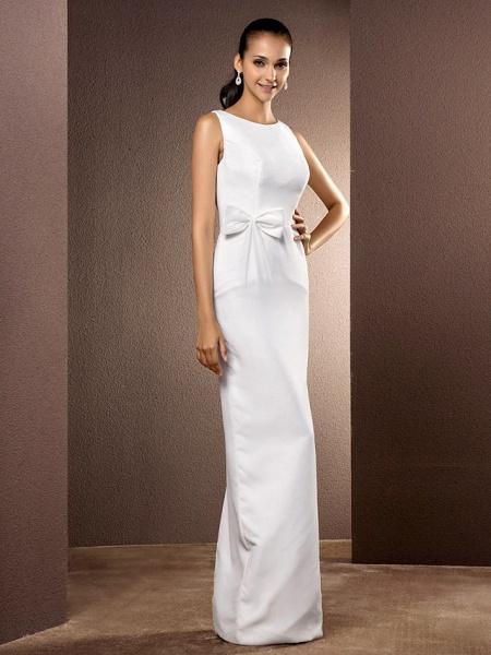 Sheath \ Column Wedding Dresses Bateau Neck Floor Length Chiffon Sleeveless_2