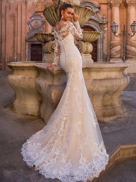 Ball Gown Mermaid \ Trumpet Sweetheart Neckline Court Train Lace Tulle Lace Over Satin Long Sleeve Sexy Plus Size Modern Detachable Wedding Dresses_5