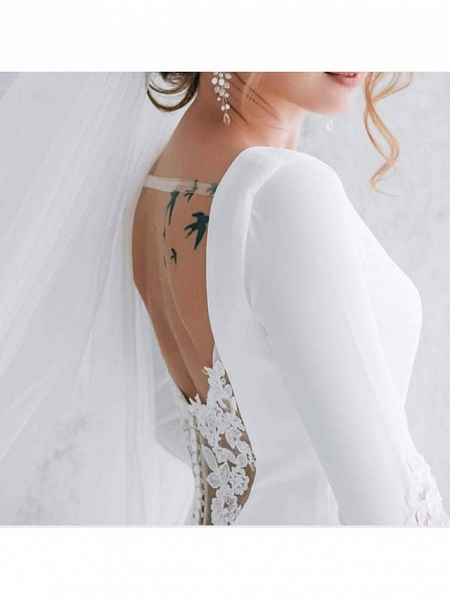 Mermaid \ Trumpet Wedding Dresses Jewel Neck Sweep \ Brush Train Tulle Polyester Long Sleeve Formal Plus Size_2
