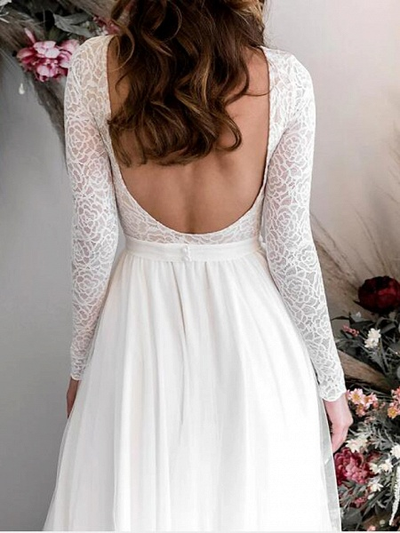 A-Line Wedding Dresses Jewel Neck Floor Length Chiffon Lace Long Sleeve Country Plus Size_3