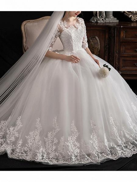 A-Line Wedding Dresses Jewel Neck Sweep \ Brush Train Lace Half Sleeve Glamorous See-Through Illusion Sleeve_3