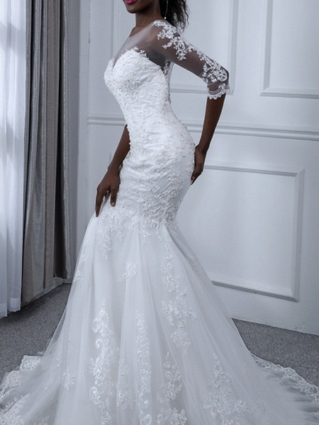 Mermaid \ Trumpet Wedding Dresses Jewel Neck Sweep \ Brush Train Tulle Long Sleeve Casual Plus Size Illusion Sleeve_3