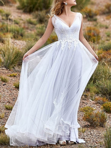 A-Line Wedding Dresses V Neck Sweep \ Brush Train Lace Tulle Sleeveless Beach Vintage Sexy Wedding Dress in Color See-Through Backless_1