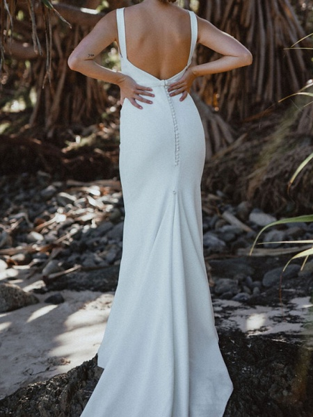 Sheath \ Column Wedding Dresses V Neck Chapel Train Tulle Sleeveless Country Sexy Wedding Dress in Color See-Through_7