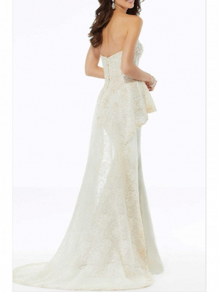 A-Line Wedding Dresses Strapless Sweep \ Brush Train Charmeuse Strapless Plus Size_2