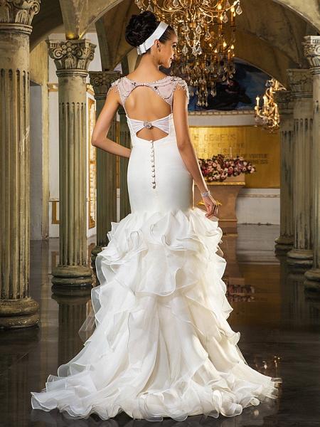 Mermaid \ Trumpet Wedding Dresses Sweetheart Neckline Sweep \ Brush Train Organza Tulle Cap Sleeve Formal Separate Bodies_4