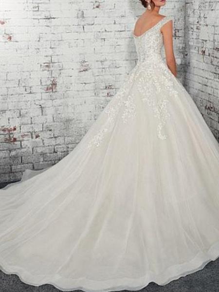 A-Line Wedding Dresses Off Shoulder Court Train Lace Tulle Cap Sleeve_2