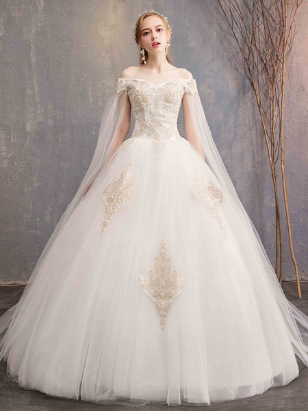 Ball Gown Wedding Dresses Off Shoulder Maxi Tulle Lace Over Satin Short Sleeve Glamorous Illusion Detail_1