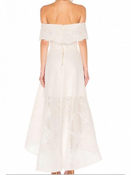 A-Line Wedding Dresses Off Shoulder Asymmetrical Ankle Length Organza Short Sleeve_2