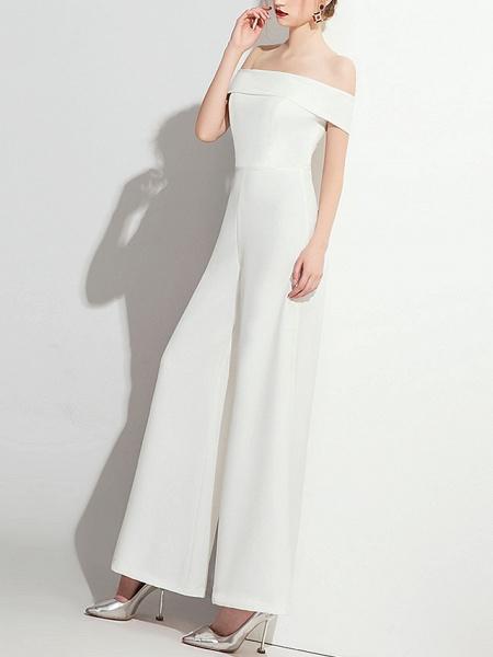 Jumpsuits Wedding Dresses Off Shoulder Floor Length Polyester Cap Sleeve Formal Simple_4