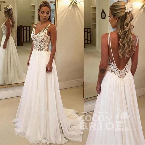 Charming V-Neck Sleeveless Appliques A-Line Floor-Length Prom Dresses_3