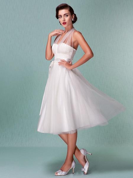 A-Line Wedding Dresses Halter Neck Knee Length Satin Tulle Regular Straps Casual Vintage Little White Dress Plus Size_3