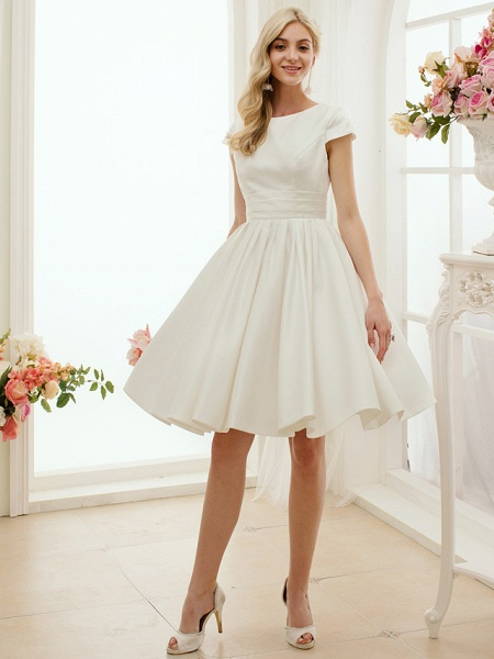 A-Line Wedding Dresses Jewel Neck Knee Length Satin Short Sleeve Formal Simple Casual Little White Dress_1