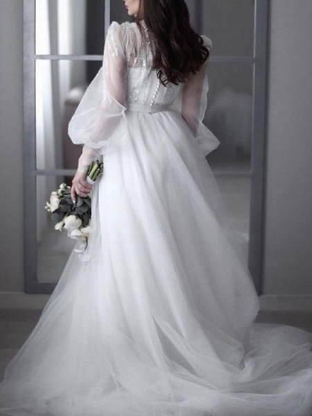 A-Line Wedding Dresses V Neck Sweep \ Brush Train Lace Tulle 3\4 Length Sleeve Sexy See-Through Backless_2
