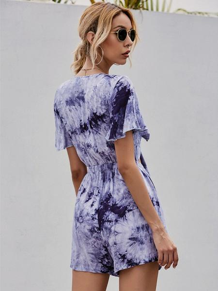 Women's Sundress Short Mini Dress - Short Sleeves Tie Dye Summer Street chic 2020 Purple S M L XL_4