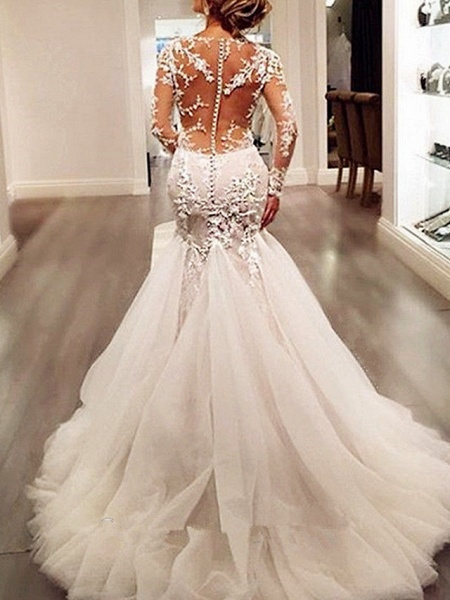 Mermaid \ Trumpet V Neck Sweep \ Brush Train Tulle Long Sleeve Sexy See-Through Backless Illusion Sleeve Wedding Dresses_3