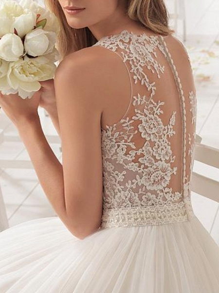 A-Line Wedding Dresses Jewel Neck Sweep \ Brush Train Lace Tulle Sleeveless Country Sexy See-Through_3
