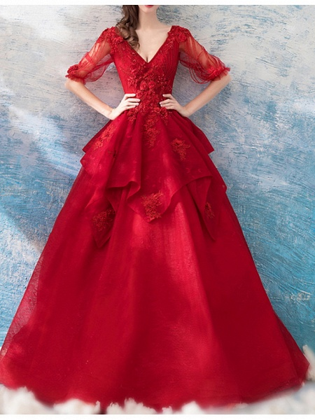 A-Line Wedding Dresses V Neck Sweep \ Brush Train Chiffon Tulle Half Sleeve Formal Plus Size Red_1
