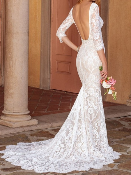 Sheath \ Column V Neck Court Train Lace Half Sleeve Country Wedding Dress in Color Wedding Dresses_2
