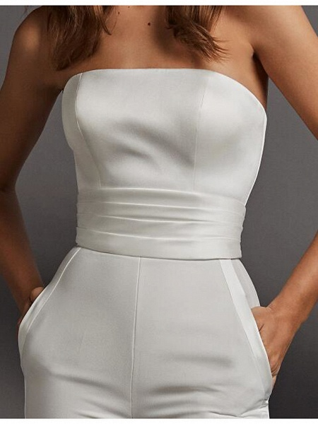 Two Piece Jumpsuits Wedding Dresses Strapless Floor Length Charmeuse Sleeveless Country Plus Size_3