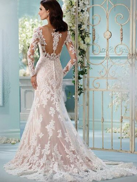Mermaid \ Trumpet Scoop Neck Chapel Train Lace Tulle Lace Over Satin Long Sleeve Formal Sexy Beautiful Back Illusion Sleeve Wedding Dresses_4