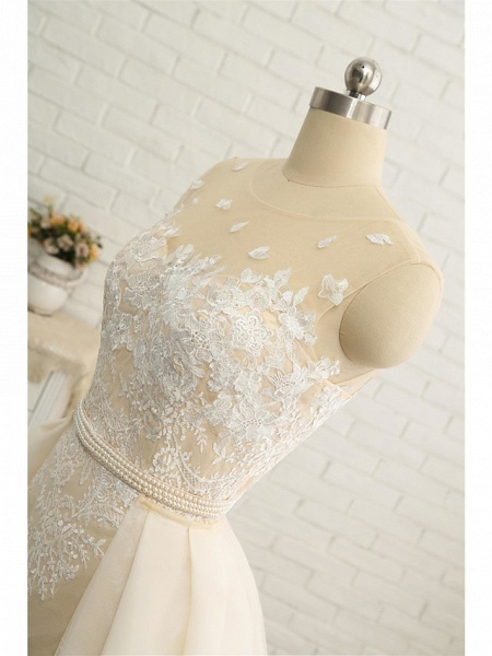 Mermaid \ Trumpet Jewel Neck Chapel Train Lace Tulle Lace Over Satin Regular Straps Formal See-Through Wedding Dresses_8