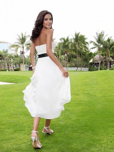 A-Line Wedding Dresses Strapless Tea Length Chiffon Strapless Formal Casual Little White Dress_3