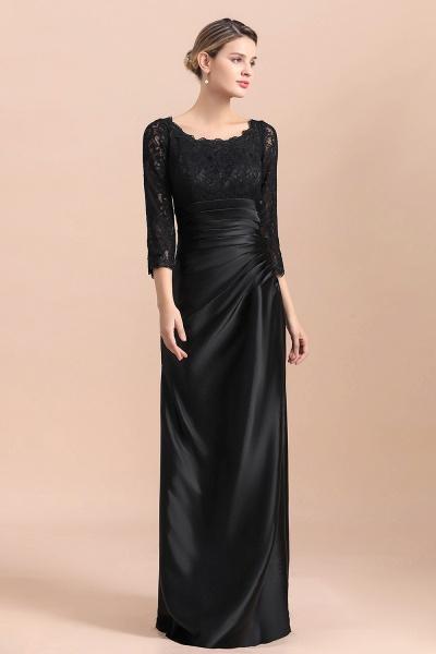 Elegant 3/4 Sleeves Black Satin Lace Ruffles Mother of Bride Dress_7