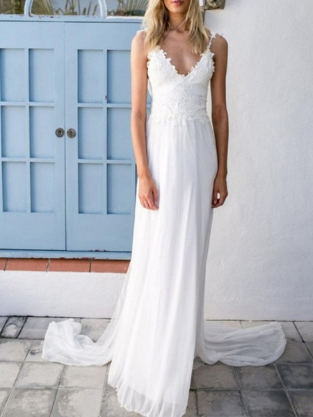 A-Line Wedding Dresses V Neck Spaghetti Strap Sweep \ Brush Train Chiffon Lace Sleeveless Vintage Sexy Wedding Dress in Color Backless_1