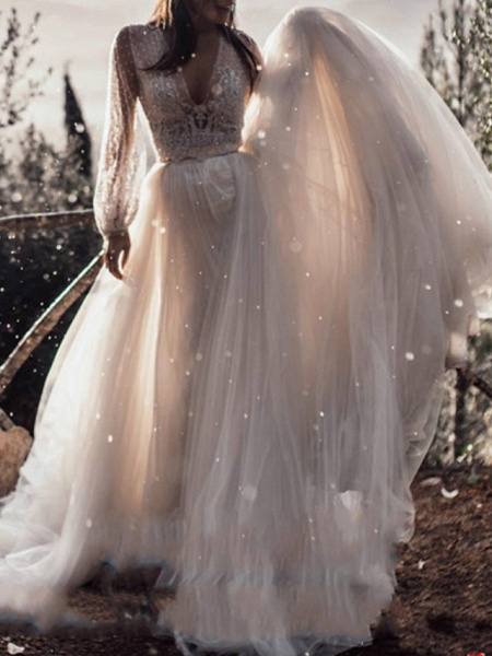 A-Line Wedding Dresses V Neck Sweep \ Brush Train Lace Tulle Long Sleeve Boho Sexy See-Through_1