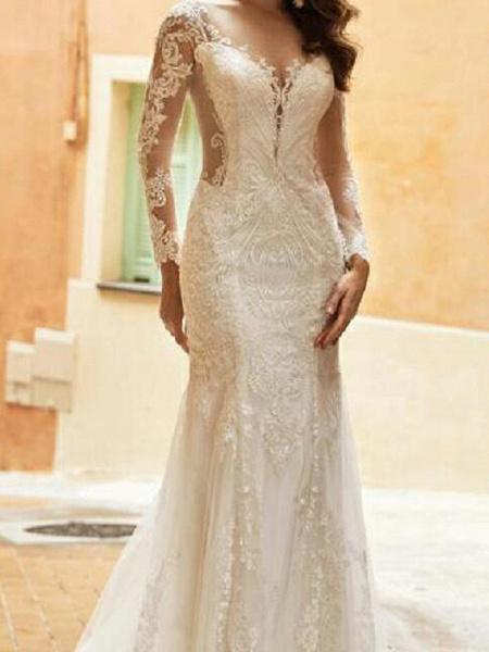 Mermaid \ Trumpet Wedding Dresses V Neck Sweep \ Brush Train Tulle Polyester Long Sleeve Country Plus Size Illusion Sleeve_2