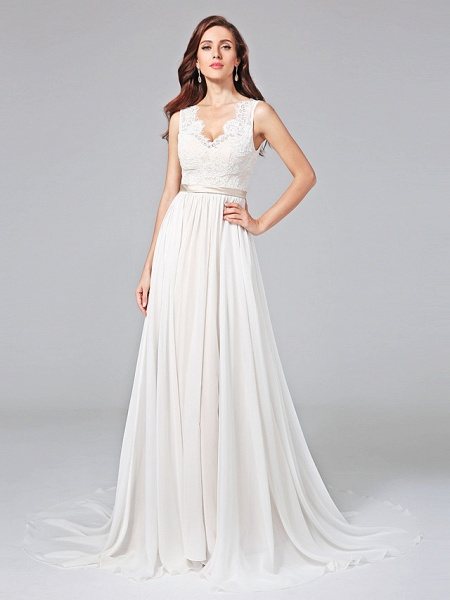 A-Line Wedding Dresses V Neck Court Train Chiffon Lace Regular Straps Romantic See-Through Plus Size Backless_2