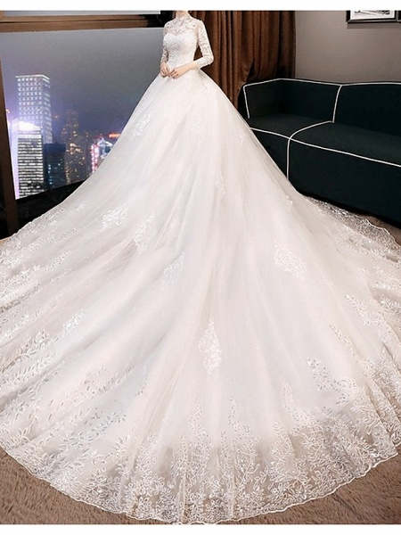 A-Line Wedding Dresses High Neck Court Train Lace 3\4 Length Sleeve Glamorous Illusion Sleeve_4