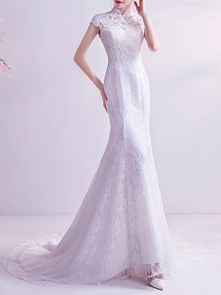 Mermaid \ Trumpet Wedding Dresses High Neck Court Train Chiffon Tulle Cap Sleeve Formal Illusion Detail Plus Size_3