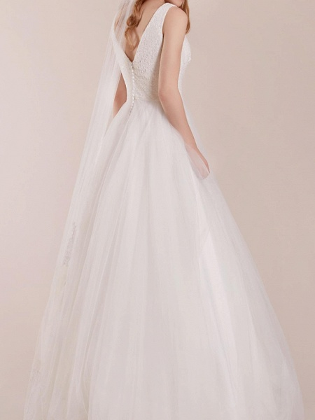 A-Line Wedding Dresses Plunging Neck Floor Length Polyester Sleeveless Country Plus Size_2