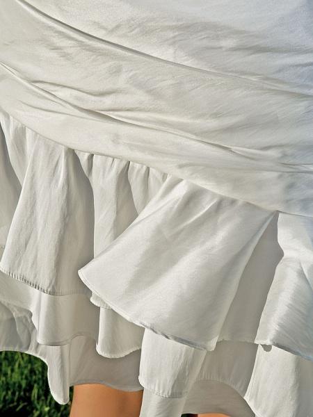 Sheath \ Column Wedding Dresses One Shoulder Asymmetrical Knee Length Taffeta Sleeveless Little White Dress_9