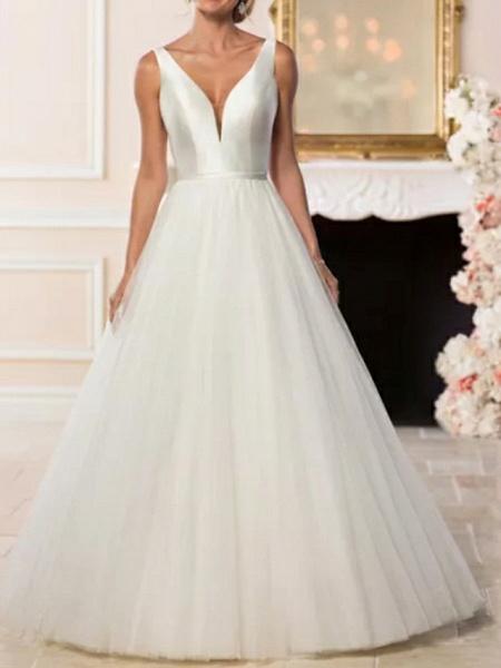 A-Line Wedding Dresses V Neck Sweep \ Brush Train Satin Tulle Regular Straps Simple Backless Elegant_3
