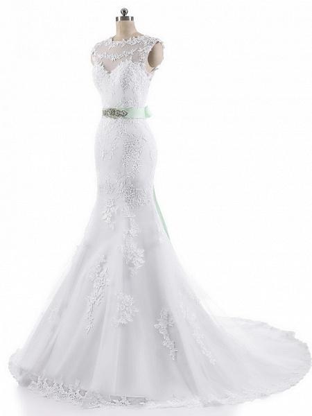 Mermaid \ Trumpet Wedding Dresses Jewel Neck Court Train Lace Tulle Cap Sleeve_5